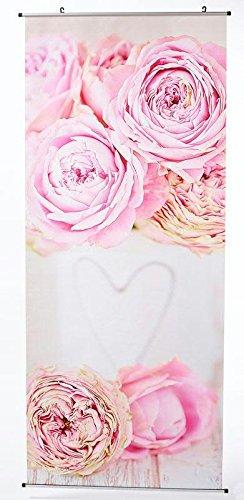 Textilbanner für Schaufenster - Thema: Ganzjährig/Hochzeit - Rosen/Herz - 180cmx75cm - Inklusive Bannerstäbe & Aufhänger - Banner zum Hängen & Dekorieren