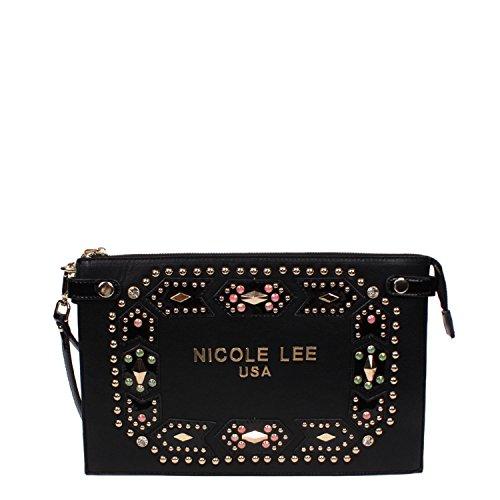 embellished-studded-colorful-nicole-lee-zipper-wristlet-clutch-black