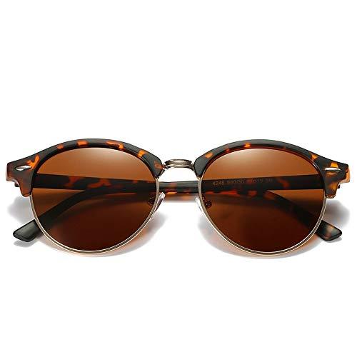 YKDDGG Modeaccessoires Sonnenbrillen Polarisierte runde Sonnenbrillen Herren Damen runde Brillen Klassische Sonnenbrillen Driving Semi Rimless Eyewear3-Tortoise.Tea