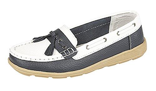 Ladies Chaussures bateau en cuir à franges L208 Casual Bleu - Bleu marine/blanc