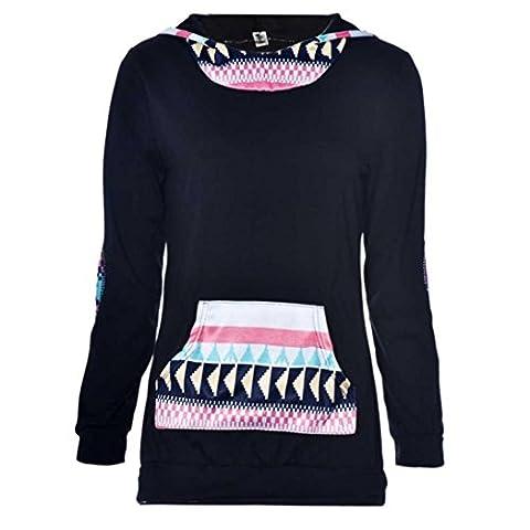 Jogging Femme, Kolylong® Femmes GéOméTrique Impression Pocket Hoodie Sweatshirt à Capuche Hauts Blouse (XL)