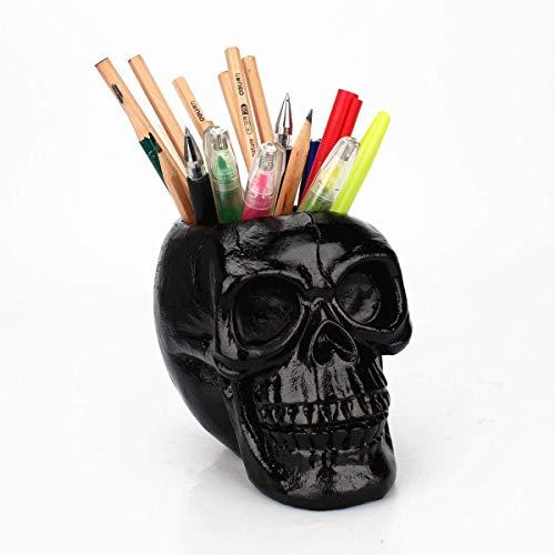 Stiftehalter mit Totenkopf-Motiv, für Make-up-Pinsel, Organizer für Zuhause, Büro, Schreibtischzubehör Schwarz