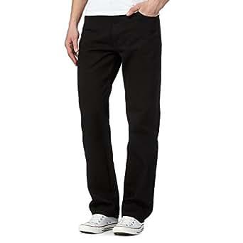 Mens Original 100% Cotton Jeans Plain Straight Leg Heavy Duty Denim Wash Boys Jean Classic Designer Stretch Fit Casual Work Wear Zip Fly Belt Loop Pants Pocket Trosuers Sizes 30-50(Black, 30/27)