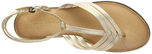 Tommy Hilfiger Damen Metallic Flat T-Bar Sandal T-Spangen Gold (Mekong 709)