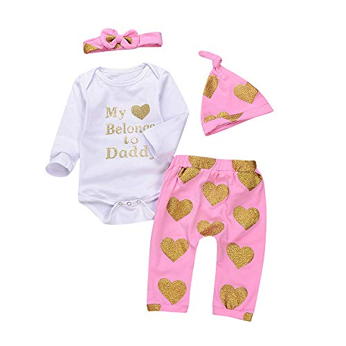 4PCS Toddler Baby Letter Print Romper+Heart Print Pants+Hat+Headband Set Outfit