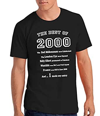 """Boys """"The Best of 2000"""" 16th Birthday T Shirt Gift, 100% Soft Cotton: B, S"""