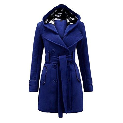 Highdas Womens Warme Winter Zweireiher mit Kapuze lange Abschnitt Jacket Outwear Mantel Blau