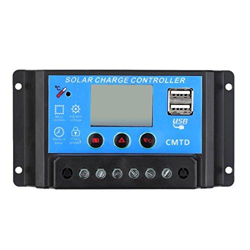 Regulador solar de 20A 12V/24V con display y 2 USB LCDLos reguladores PWM mantienen un estado de carga más alto en el banco de baterías que los reguladores on-off antiguos. Utilice las últimas tecnologías de carga combinadas con la determinación del ...