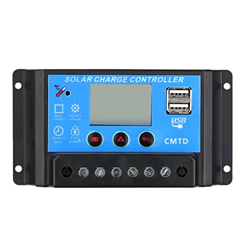 VIASOLAR Regulador Solar de 30A 12V/24V con Display y 2 USB LCD