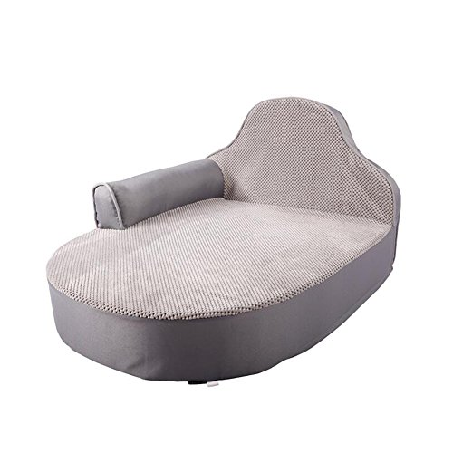 YNZYOG Katzen und Hunde Haustierbett/Matte Sofa Style Oxford Tuch Silber Grau Braun mit Kissen + Kopfstütze Abnehmbar Sauber (Farbe : Silber Grau)
