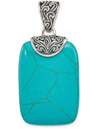 925 Sterling Silver Blue Turquoise Pendant Charm Necklace Natural Stone Fine Jewelry For Women Gift Set