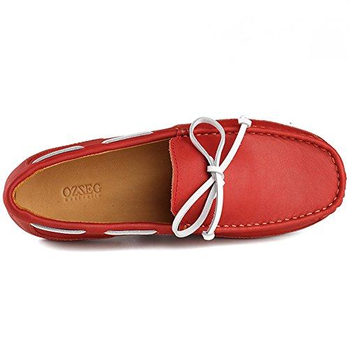 OZZEG Cuir mocassins hommes bateau chaussures mocassins classiques vachette véritable au volant Rouge