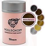 Vollschopf Schütthaar speziell für Frauen - Streuhaar bei weiblichem Haarausfall - Hair Fibers für dünnes Frauen-Haar - Haar-Pulver Farbe Mittelbraun