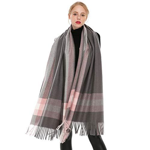 Longwu donna morbida sciarpa in lana di cashmere grande scalda pashminas e avvolgente coperta con stola calda-grigio2