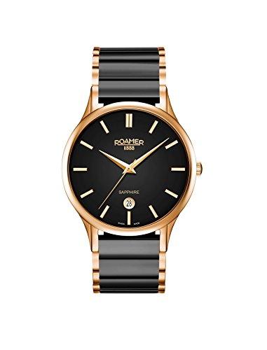 Roamer Herren Datum klassisch Quarz Uhr mit Keramik Armband 657833 49 55 60