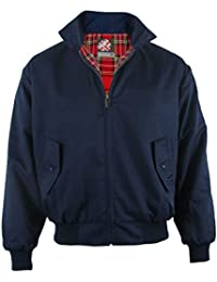 Navy WARRIOR Harrington Jacket With Tartan Lining Retro/Mod/Scooter S-3XL