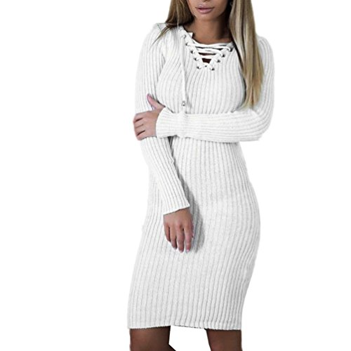 Angelof Robe Pull Lacage Au Col Femme Hiver Chaud Robe Pull Droite Ado Fille Rayures Robe De Cocktail Fine Maille Blouse Femme Chic Manche Longue (XL)