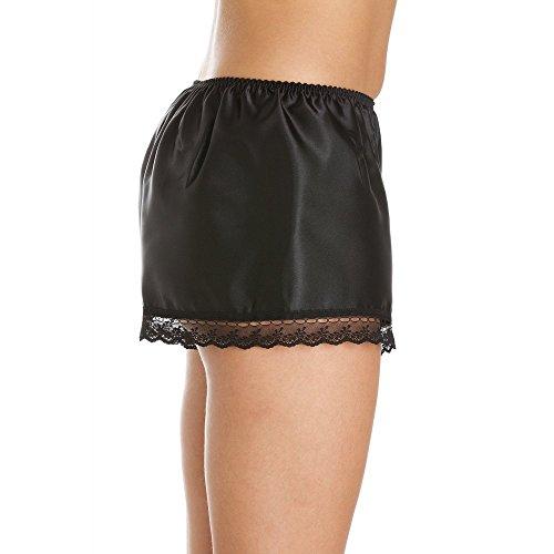 Hochwertige Nachtwäsche-Shorts - Satin - Schwarz Schwarz