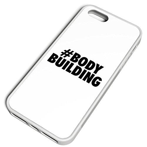 Smartcover Case Hashtag # Bodybuilding z.B. für Iphone 5 / 5S, Iphone 6 / 6S, Samsung S6 und S6 EDGE mit griffigem Gummirand und coolem Print, Smartphone Hülle:Iphone 6 / 6S weiss Iphone 5 / 5S weiss