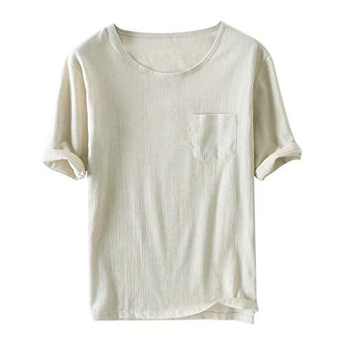 ZZBO Tshirt Herren T Shirt Herren Tee Kurzarm Round Hals Slim Fit Leinen T-Shirt Herren Sommer Hemd Herren Hemden Herren Top Oberteile Casual Leichtgewicht Atmungsaktiv M-3XL(Weiß,Navy,Schwarz,Khaki)