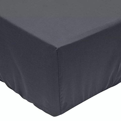 vidaXL Draps de lit 2 pièces 200 x 200 cm Coton Anthracite