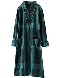 MatchLife Damen Bluse Langarm Kariertes Hemden Kleid Freizeit Langarmshirt  Leinen Longshirt Dress mit… 080f8eff8b