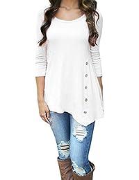 VJGOAL Mujeres de Moda Casual de Manga Larga botón Flojo Trim Blusa de Color sólido Sexy Grande Cuello Redondo túnica Camiseta