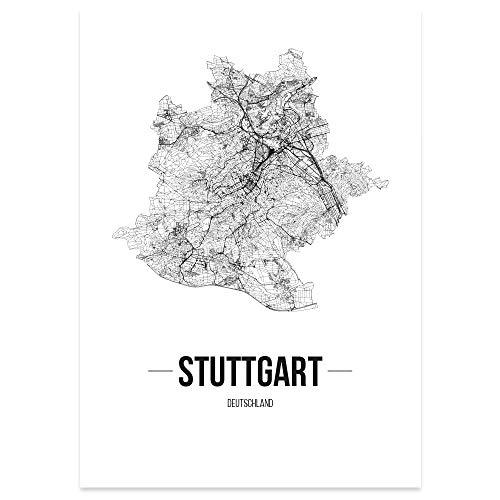 JUNIWORDS Stadtposter, Stuttgart, Wähle eine Größe, 60 x 90 cm, Poster, Schrift B, Weiß