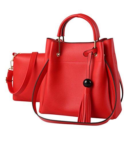 a69c43d18fd10 Baymate Damen Handtaschen 2 pcs Set PU Leder Quaste Henkeltasche Crossbody  Tasche Handgelenktasche Rot