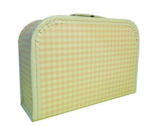 Valise en carton rose blanc à carreaux 25 cm avec Trim
