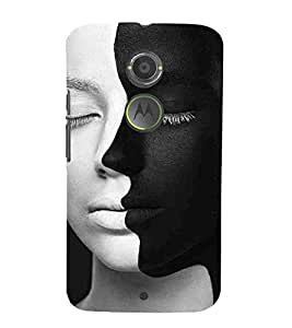 For Motorola Moto X2 :: Motorola Moto X (2nd Gen) amezing face, two face, black face, white face Designer Printed High Quality Smooth Matte Protective Mobile Case Back Pouch Cover by APEX
