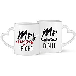 Set de 2 tazas de cerámica con asa en forma de corazón – Mr. Right & Mrs. Always Right – Con bigote y corazón – Estándar – Tazas de café para enamorados – Regados para San Valentín o para bodas