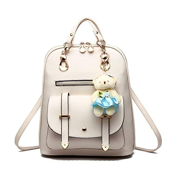 Generic Fashion Bear Backpack Female School Bags For Girls Backpacks For Women Bag Travel Shoulder Bags sac a main PU Leather Backpack Color 4