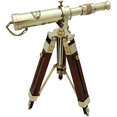 Telescopio naútico de latón con trípode