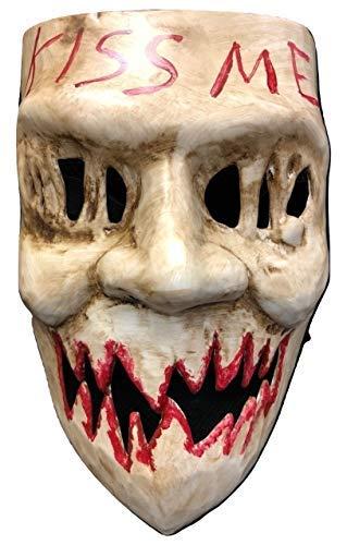 UK The Purge Original Kiss Me Luxus Halloween Hartplastik Maske mit Elastischer Gurt von Wahl Jahr Film (Original Kiss Halloween)