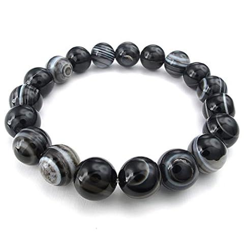 Epinki Mens Agate Beads Bracelet 12Mm Bead Length 9 Inch