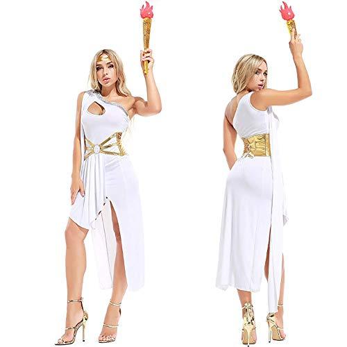 (WWANGYU Frauen Fantasievolle Kleider Sind Strapazierfähige Weiße Kleider Gürtel Halsketten Und Kopfbedeckung Halloween Griechische Göttin Kostüm Oder Ägyptische Kostüm,White)