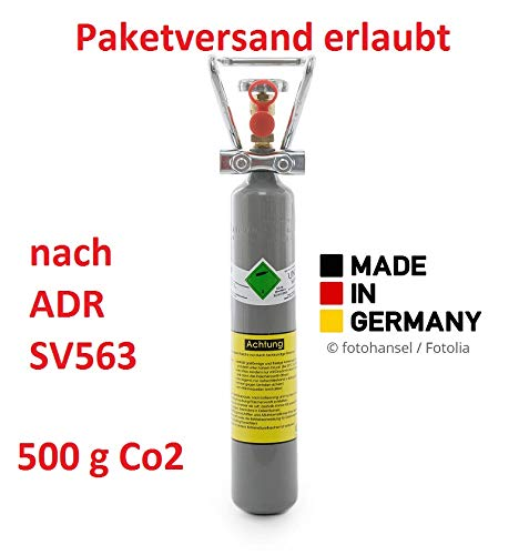 500g Kohlensäure Flasche für Aquarium / 0,5 kg CO2 Flasche mit Griff/Postversand möglich nach ADR-SV653, Neue Kohlensäureflasche/Eigentumsflasche / 10 Jahre TÜV/Made in Germany