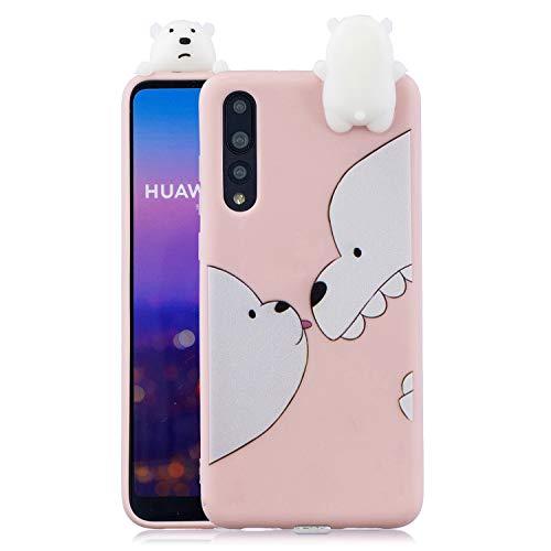 Schutzhülle für Huawei P20 Pro, 3D-Cartoon-Design, weiches TPU-Silikon, dünn, personalisierbar, Gel-Schutzhülle, Gummi, transparent bär -
