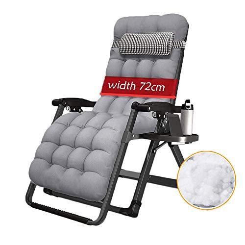 HXPK Übergroße Klapp-Lounge Chair, Mittagspause Lounge Chair Folding Lunch Break Einzelne tragbare kleine Büro Krippe für Garten, Outdoor Patio,Gray