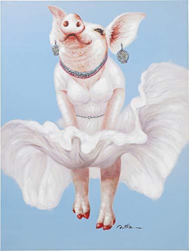 Kare Design Bild Touched Pig Diva 120x90cmm, lustiges Bild ohne Bilderrahmen mit Schwein Motiv, Blauer Hintergrund, (H/B/T) 120x90x3,5cm