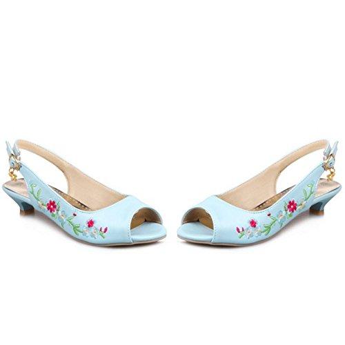 COOLCEPT Femmes Mode Slip On Sandales Peep Toe Slingback Talon bas Chaussures Bleu