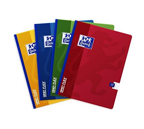 Oxford OpenFlex Heft mit großen Karos, 192Seiten, 17x22cm, verschiedene Farben, 5Stück