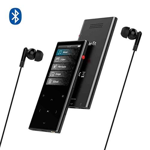 WalkerFit 8-GB-MP3-Player, eingebauter Metalllautsprecher mit UKW-Radio, Sprachaufzeichnung, E-Book, Touch-Taste mit 2,4-Zoll-Bildschirm, Unterstützung für Micro-SD-Karten mit 64 GB, Schwarz