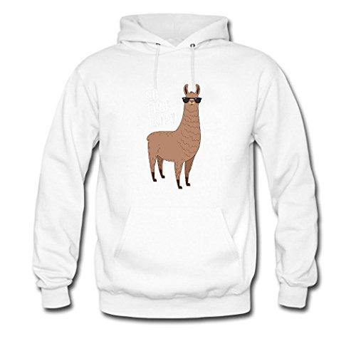 HGLee Printed Personalized Custom No Prob Llama Women's Hoodie Hooded Sweatshirt White