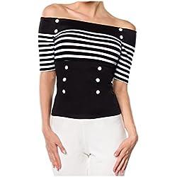 Belsira - Camiseta sin mangas - para mujer blanco / negro 42