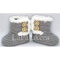 Patucos para bebé de crochet, Unisex. Estilo botas Canadá de color a elegir,