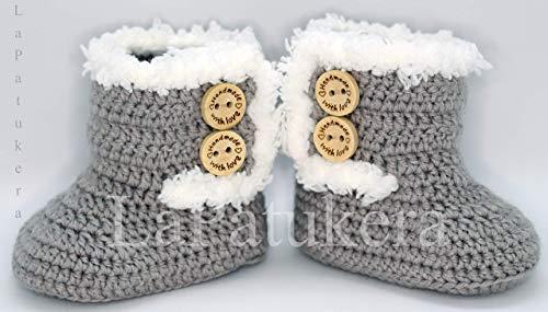 Bootees Kanada. Wolle, Babyschuhe häkeln, Unisex. Stil, Bootees Kanada. Farbe zur Auswahl, aus Wolle, 4 Größen 0-9 Monate. handgefertigt in Spanien. Turnschuh gehäkelt gestrickt, Geschenk fürs Baby