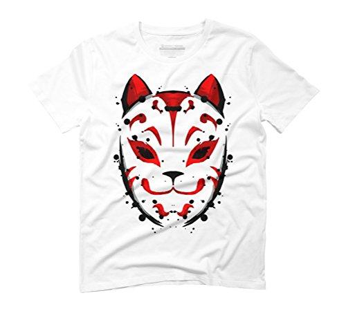 Kitsune Mask Men's Graphic T-Shirt - Design By Humans White