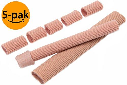 NatraCure Gel Fingerschutz & Zehenschutz Schlauch-Bandage zum Zuschneiden, 5er Set - Druckschutz Finger-Bandage & Zehen-Bandage zur Schmerzlinderung bei Hühneraugen, Blasen, Hammerzehen & Schwielen -